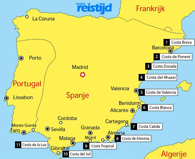 Waar liggen alle Spaanse Costas kaart